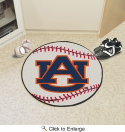 "Fan Mats 1358  AU - Auburn University Tigers 27"" Diameter Baseball Shaped Area Rug"