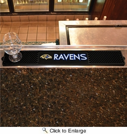 "Fan Mats 13979  NFL - Baltimore Ravens 3.25"" x 24"" Drink Mat"
