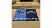 """Fan Mats 14117  NFL - San Diego Chargers vs Tennessee Titans 33.75"""" x 42.5"""" House Divided Mat"""