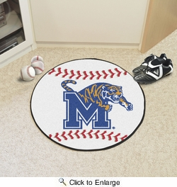 "Fan Mats 1447  University of Memphis Tigers 27"" Diameter Baseball Shaped Area Rug"