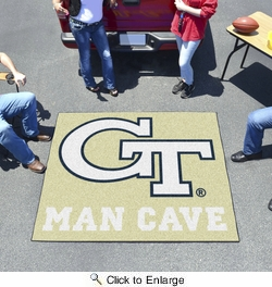 Fan Mats 14550  Georgia Tech Yellow Jackets 5' x 6' Man Cave Tailgater Mat