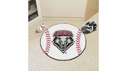 "Fan Mats 1470  UNM - University of New Mexico Lobos 27"" Diameter Baseball Shaped Area Rug"