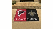 "Fan Mats 15553  NFL - Atlanta Falcons vs New Orleans Saints 33.75"" x 42.5"" House Divided Mat"