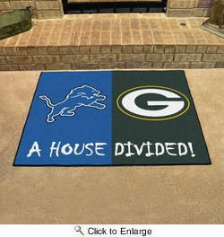 "Fan Mats 15555  NFL - Detroit Lions vs Green Bay Packers 33.75"" x 42.5"" House Divided Mat"