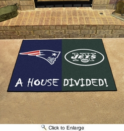 "Fan Mats 15558  NFL - New England Patriots vs New York Jets 33.75"" x 42.5"" House Divided Mat"