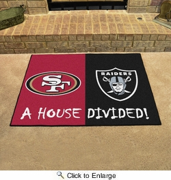 "Fan Mats 15559  NFL - San Francisco 49ers vs Oakland Raiders 33.75"" x 42.5"" House Divided Mat"