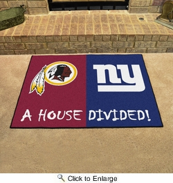 "Fan Mats 15561  NFL - Washington Redskins vs New York Giants 33.75"" x 42.5"" House Divided Mat"