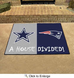 "Fan Mats 15595  NFL - Dallas Cowboys vs New England Patriots 33.75"" x 42.5"" House Divided Mat"