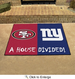 "Fan Mats 15596  NFL - San Francisco 49ers vs New York Giants 33.75"" x 42.5"" House Divided Mat"