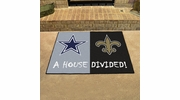 "Fan Mats 15647  NFL - Dallas Cowboys vs New Orleans Saints 33.75"" x 42.5"" House Divided Mat"