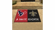 "Fan Mats 15649  NFL - Houston Texans vs New Orleans Saints 33.75"" x 42.5"" House Divided Mat"