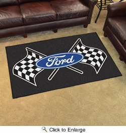 Fan Mats 15831  Ford Logo with Checkered Flags on Black 4' x 6' Area Rug