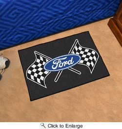 """Fan Mats 15851  Ford Logo with Checkered Flags on Black 19"""" x 30"""" Starter Mat"""