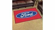 Fan Mats 16053  Ford Oval on Red 4' x 6' Area Rug