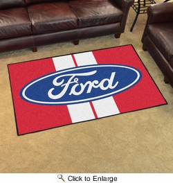 Fan Mats 16128  Ford Oval with Stripes on Red 4' x 6' Area Rug