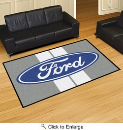 Fan Mats 16139  Ford Oval with Stripes on Gray 5' x 8' Area Rug