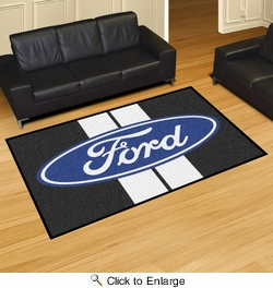 Fan Mats 16140  Ford Oval with Stripes on Black 5' x 8' Area Rug