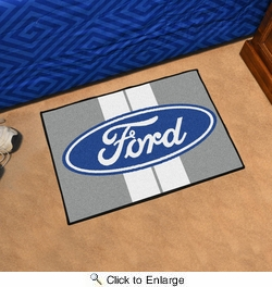 "Fan Mats 16149  Ford Oval with Stripes on Gray 19"" x 30"" Starter Mat"