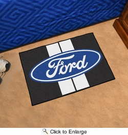 "Fan Mats 16150  Ford Oval with Stripes on Black 19"" x 30"" Starter Mat"