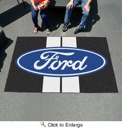 Fan Mats 16170  Ford Oval with Stripes on Black 5' x 8' Ulti-Mat