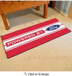 """Fan Mats 16188  Ford Oval with Stripes on Red 30"""" x 72"""" Runner Mat"""