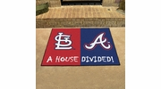 "Fan Mats 16219  MLB - St Louis Cardinals vs Atlanta Braves 33.75"" x 42.5"" House Divided Mat"