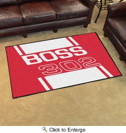 Fan Mats 16287  Ford - Boss 302 on Red 4' x 6' Area Rug