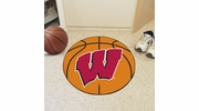"Fan Mats 1643  University of Wisconsin Badgers 27"" Diameter Basketball Shaped Area Rug"