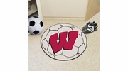 "Fan Mats 1644  University of Wisconsin Badgers 27"" Diameter Soccer Ball Shaped Area Rug"