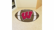 "Fan Mats 1647  University of Wisconsin Badgers 20.5"" x 32.5"" Football Shaped Area Rug"