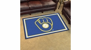 "Fan Mats 16843  MLB - Milwaukee Brewers ""Ball in Glove"" 4' x 6' Area Rug"