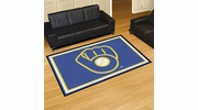 "Fan Mats 16844  MLB - Milwaukee Brewers ""Ball in Glove"" 5' x 8' Area Rug"