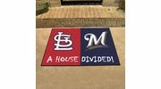 "Fan Mats 16881  MLB - St Louis Cardinals vs Milwaukee Brewers 33.75"" x 42.5"" House Divided Mat"