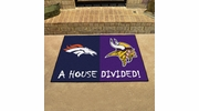 "Fan Mats 17371  NFL - Denver Broncos vs Minnesota Vikings 33.75"" x 42.5"" House Divided Mat"