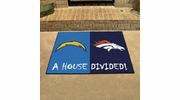 "Fan Mats 17591  NFL - San Diego Chargers vs Denver Broncos 33.75"" x 42.5"" House Divided Mat"