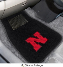 Fan Mats 17596  University of Nebraska Cornhuskers 2-pc Embroidered Car Mat Set