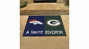 "Fan Mats 18572  NFL - Denver Broncos vs Green Bay Packers 33.75"" x 42.5"" House Divided Mat"