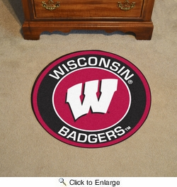 "Fan Mats 18649  University of Wisconsin Badgers 27"" diameter Roundel Mat"