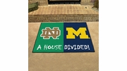 "Fan Mats 18679  Notre Dame Fighting Irish vs Michigan Wolverines 33.75"" x 42.5"" House Divided Mat"