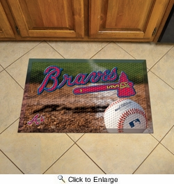 "Fan Mats 19006  MLB - Atlanta Braves 19"" x 30"" Scraper Mat - Ball Design"