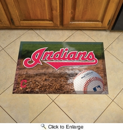 "Fan Mats 19018  MLB - Cleveland Indians 19"" x 30"" Scraper Mat - Ball Design"