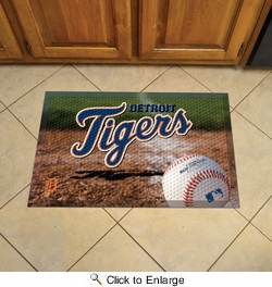 "Fan Mats 19022  MLB - Detroit Tigers 19"" x 30"" Scraper Mat - Ball Design"