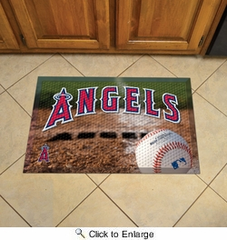 "Fan Mats 19028  MLB - Los Angeles Angels 19"" x 30"" Scraper Mat - Ball Design"