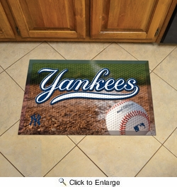 "Fan Mats 19040  MLB - New York Yankees 19"" x 30"" Scraper Mat - Ball Design"