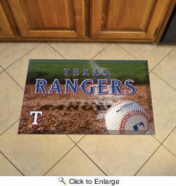 "Fan Mats 19058  MLB - Texas Rangers 19"" x 30"" Scraper Mat - Ball Design"