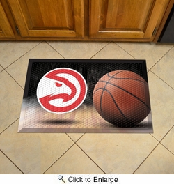 "Fan Mats 19064  NBA - Atlanta Hawks 19"" x 30"" Scraper Mat - Ball Design"