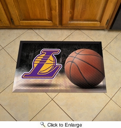 "Fan Mats 19088  NBA - Los Angeles Lakers 19"" x 30"" Scraper Mat - Ball Design"