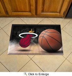 "Fan Mats 19092  NBA - Miami Heat 19"" x 30"" Scraper Mat - Ball Design"