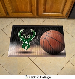 "Fan Mats 19094  NBA - Milwaukee Bucks 19"" x 30"" Scraper Mat - Ball Design"