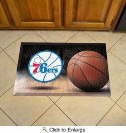 "Fan Mats 19108  NBA - Philadelphia 76ers 19"" x 30"" Scraper Mat - Ball Design"